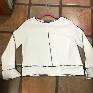 ZARA Basic classic blouse cream black Large